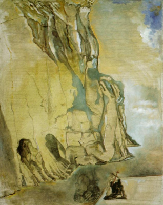 Salvador Dali. Landscape with hidden image of Michelangelo's David