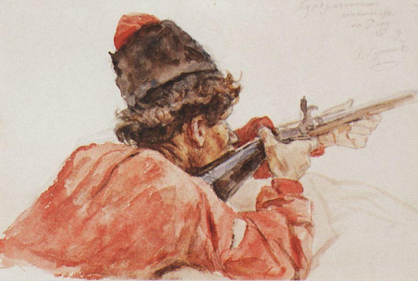 """Vasily Ivanovich Surikov. Shooting Cossack. A sketch for the painting """"the Conquest of Siberia by Yermak"""""""
