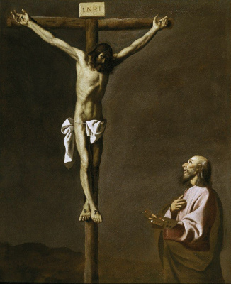 Francisco de Zurbaran. The Apostle Luke the painter before the Crucifixion
