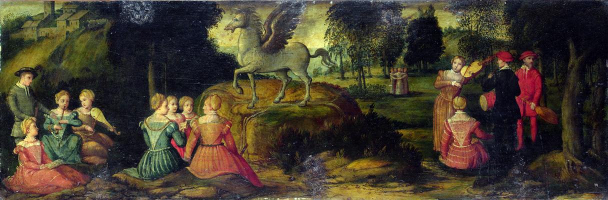 Girolamo Romanino. Pegasus and the muses