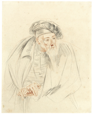 Antoine Watteau. STUDY FOR THE BEARDED DOCTOR IN LES COMÉDIENS ITALIENS