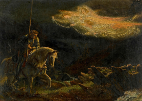 Arthur Hughes. Sir Galahad in search of the Holy Grail. Sketch