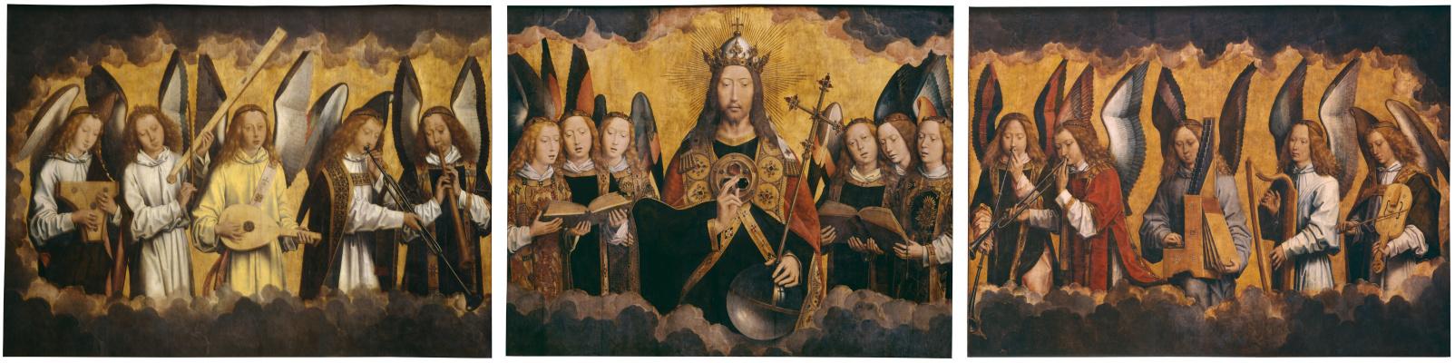 Ганс Мемлинг. Христос с поющими и музицирующими ангелами. Триптих