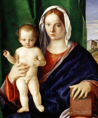 Giovanni Bellini. Madonna and Child in the background of the landscape. Fragment