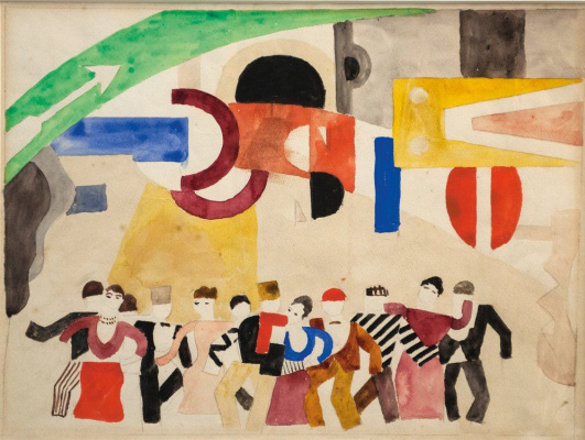 "Fernand Leger. Sketch of scenery for the ballet ""skating Rink"""