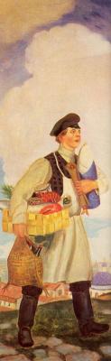 Boris Mikhailovich Kustodiev. The merchant's wife with purchases. Fragment