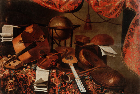 Bartolomeo bettera. Still life with musical instruments and the globe of the heavenly sphere