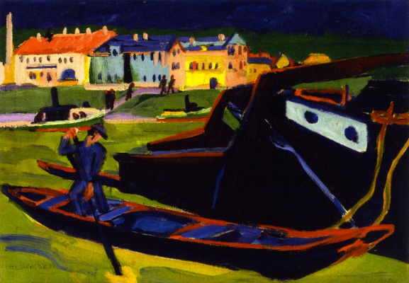 Ernst Ludwig Kirchner. Boats on the Elbe near Dresden