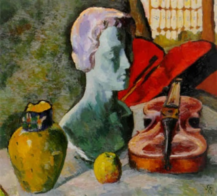 Giovanni Giacometti. Still life with yellow vase, a violin and a plaster head