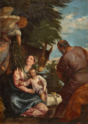 Paolo Veronese. The rest of the Holy family on the flight into Egypt