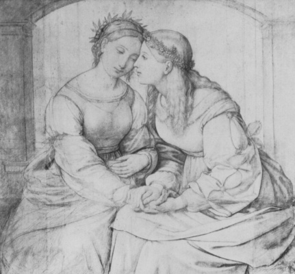 Johann Friedrich Overbeck. Shulamith and Maria. Etude for allegory
