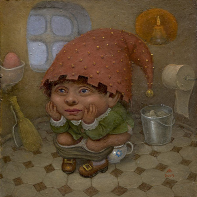 Lobi Micha. Gnome on the pot