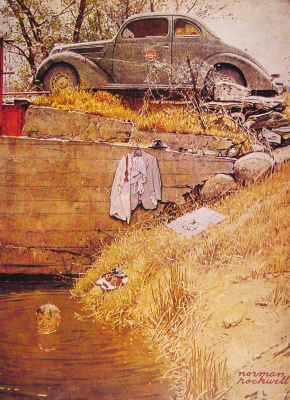 "Norman Rockwell. The place of bathing. Cover of ""The Saturday Evening Post"" (August 11, 1945)"