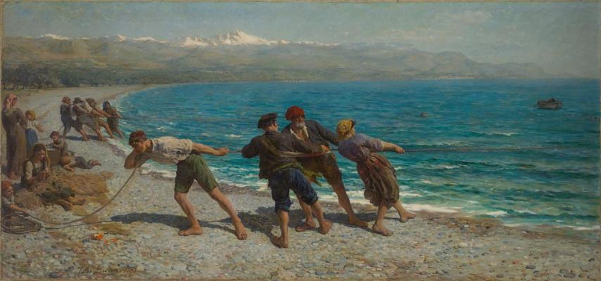 Jules Breton. Fishermen in Menton (Fishermen of the Mediterranean).
