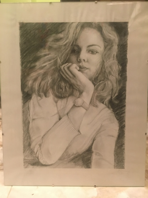 Julia Merkushina. Portrait of a goddaughter. Pencil, black crayon, A3 plotting paper
