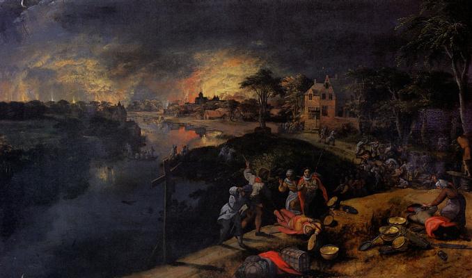 Гиллис Мострарт. Сцена с битвой и пожаром