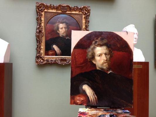 """Evgenia Andreevna Sobetskaya. Copy from the original K. Bryullov """"Self-portrait"""""""