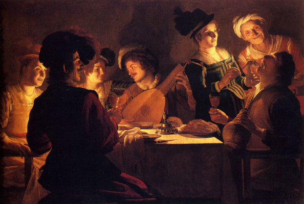 Gerard van Honthorst. Supper with the minstrel