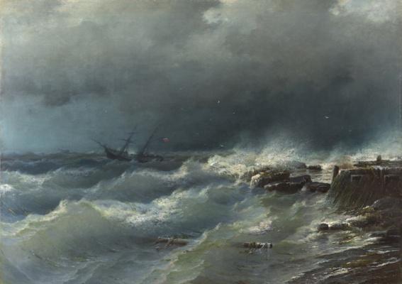 Rufin Gavriilovich Sudkovsky. The storm at coast of Odessa