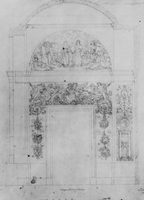 Peter von Cornelius. The sketch to the painting of the Loggia at the Alte Pinakothek in Munich, the wall: Founder Pinakothek, king Ludwig of Bavaria, chair
