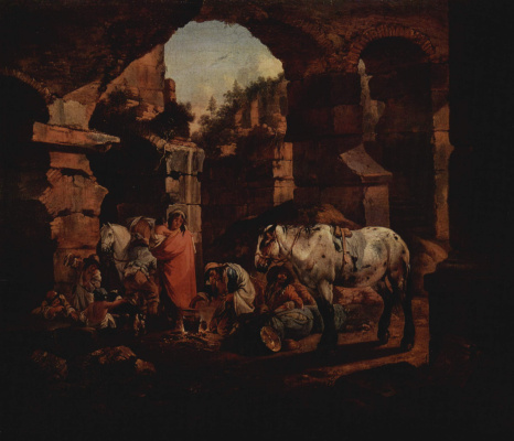 Johann Heinrich Roos. Gypsy camp in the ancient ruins
