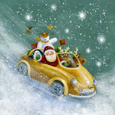 Jen Pashley. Santa with friends in the yellow car