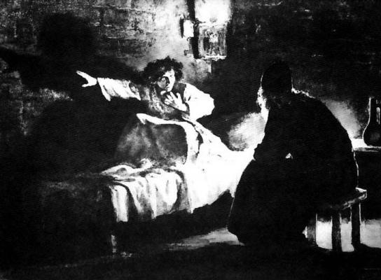"Leonid Osipovich Pasternak. Confession Of A Novice. Illustration for the poem ""Mtsyri"""