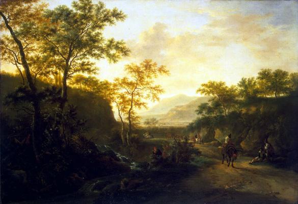Ян Бот. Итальянский пейзаж с дорогой