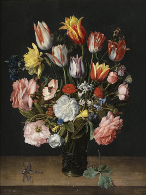 Jakob van Hülsdonk. Still life of tulips, roses, bluebells, daffodils, peonies and other flowers in a glass vase