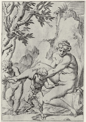 "Agostino Carracci. The series of ""Sensuality"", a Nymph and putti is a small Satyr"