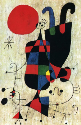 Joan (Joan) Miro. Figures and Dog in Front of the Sun
