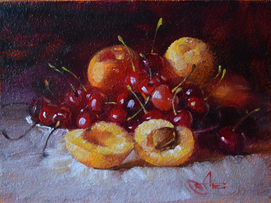 Andrey Bashirov. Red cherries and apricots. (A sketch similar to Rembrandt)
