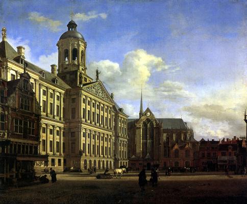 Собор и новая городская ратуша в Амстердаме
