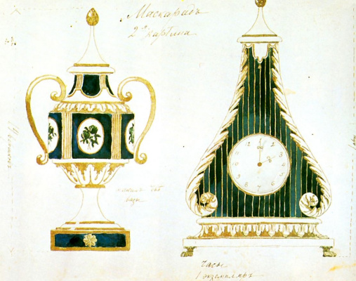 """Alexander Yakovlevich Golovin. Vase and clock. Sketch props to the drama by M. Lermontov """"Masquerade"""""""