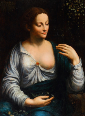 Masterpieces of unknown artists. Portrait of a woman in the image of Flora. Academy Leonardo da Vinci in France