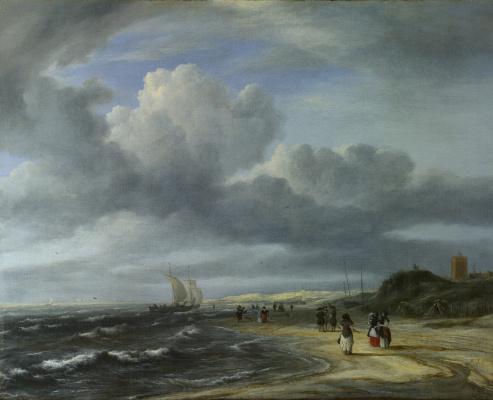 Jakob van Isaacs Ruisdael. Shore in Egmond aan Zee