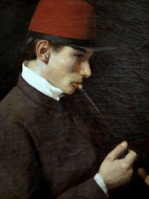 Пал Синьеи-Мерше. Мужчина, курящий чубук