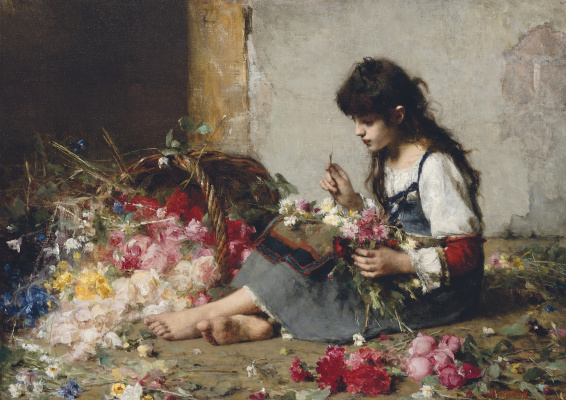 Alexey Alekseevich Kharlamov. Composing a bouquet.