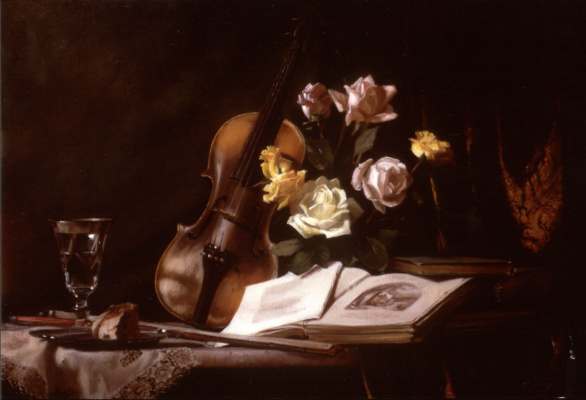 Морин Хайд. Натюрморт со скрипкой и розами