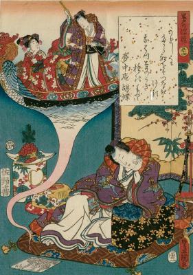 """Утагава Кунисада. Глава 54. Юмэ-но Укихаси - плавучий мост сновидений. Иллюстрации к главам """"Повести о Гэндзи"""""""