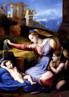Raphael Sanzio. The Madonna of the blue diadem