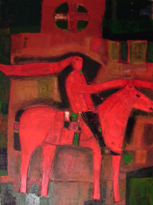 "Igor Vasilyevich Kislitsyn. ""Red Mercury"", 2003, oil on canvas, 200 x 150 FORMULA cycle RIDER"