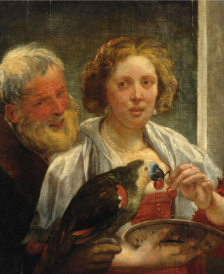 """Jacob Jordaens. """"Unrequited love"""". Bearded man and a lady with a parrot"""