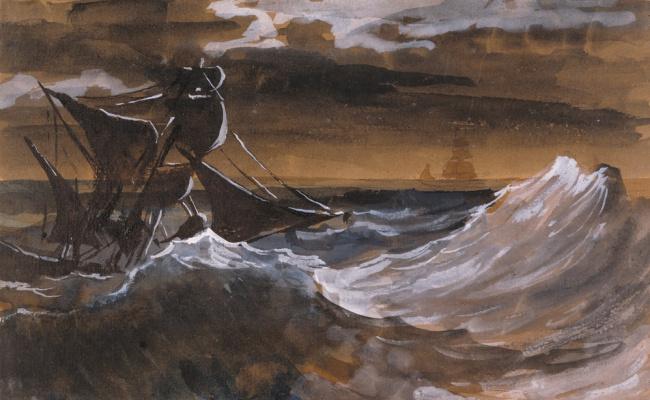 Théodore Géricault. Sailboat in the raging sea