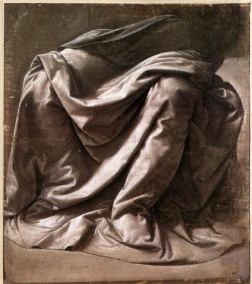 Leonardo da Vinci. The folds of clothing sitting figure