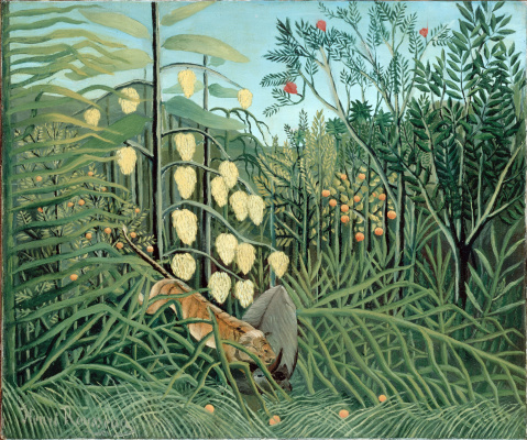 Henri Rousseau. Fighting tiger and Buffalo