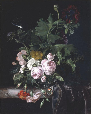 Willem van Aelst. Still life with flowers in a glass vase, a butterfly and a dragonfly