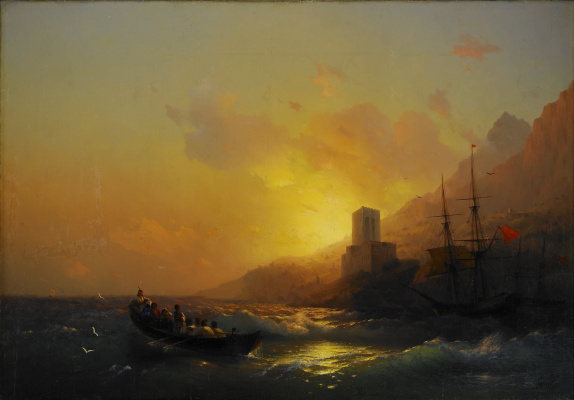 Ivan Constantinovich Aivazovski. Sunset over the great Lavra, mount Athos