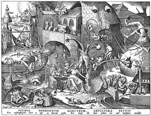 "Pieter Bruegel The Elder. The series ""Seven deadly sins"". Envy"