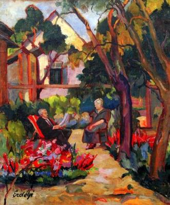 Adalbert Mikhailovich Erdeli. Parents of the artist in the garden